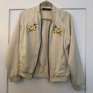 Nasty Gal & Motel Bomber Jacket w/ Flowers - S